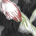 """01/08/08 Kizume (rouge) et Getsu (vert) se reposent dans l'herbe. Kizume possède un bras métallique qu'il a """"gagné"""" après un abandon de combat officiel. Il est censé être répugné de tous les phénix et de tout un pays. Getsu est sa petite amie, future femme, avec qui il a grandi. Ils se serrent les coudes pour rester unis, même s'ils semblent éloignés ...."""